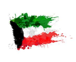 Flag of Kuwait made of colorful splashes
