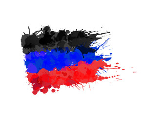 Donetsk People's Republic flag made of colorful splashes