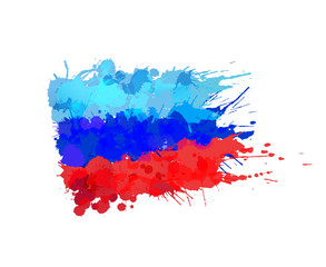 Lugansk People's Republic flag made of colorful splashes