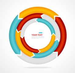 Abstract arrow banner for text. Circle diagram.