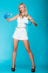 Funny sexy girl doctor nurse with syringe stethoscope