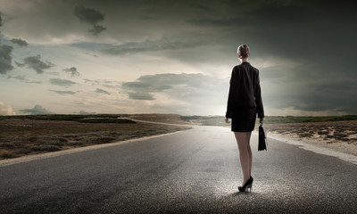 Businesswoman on road