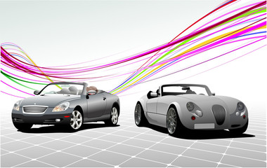 Two Gray  car cabriolets on the road. Vector illustration