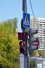 Пешеходный светофор с красным запрещающим сигналом