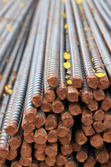 Stack of steel reinforcement rods for construction