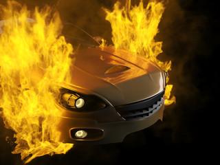 burning brandless sport car