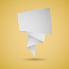 Abstract origami speech background on yellow background