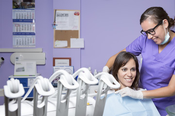 dental assistant and female patient
