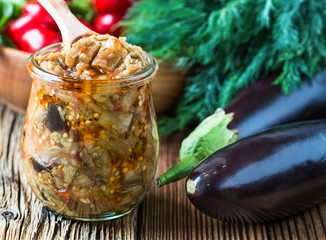Eggplant preserve in glass jar