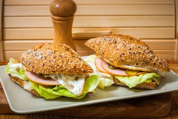Sandwich on a plate with wooden background