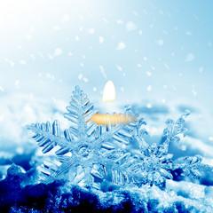 Christmas snowflakes and light