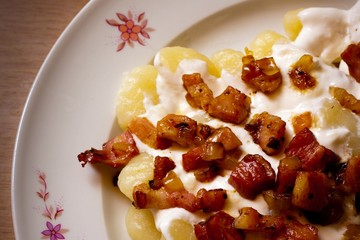 Gnocchi with sheep cheese (bryndza) with bacon