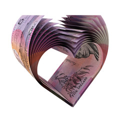 5 Australian Dollars Bills in a Shape of Heart