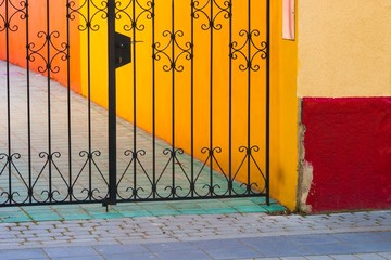 Iron gate with colorful environment