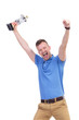 casual young man cheers with trophy in hand