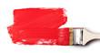 Leinwanddruck Bild - Paintbrush with red paint