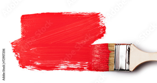 Paintbrush with red paint - 72907206