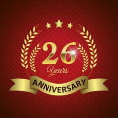 Celebrating 26 Years Anniversary, Golden Laurel Wreath & Ribbon