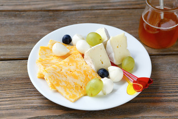Six different pieces of cheese on a plate