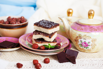 three pieces of shortcake cake with nuts and chocolate