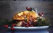 Leinwandbild Motiv Festive Thanksgiving or Christmas roast turkey chicken