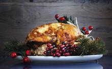 """Постер, картина, фотообои """"Festive Thanksgiving or Christmas roast turkey chicken """""""