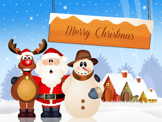 Santa Claus, snowman and reindeer