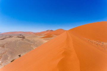 Dune 45 in sossusvlei Namibia, view from the top of a Dune 45
