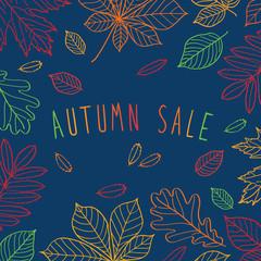 Autumn sale. Autumn leaves. Сhalkboard. Сhalkboard.