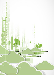 Abstract green eco technolgy business concept with cloud