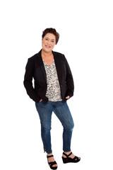 Full Length Portrait of Woman Standing in Studio