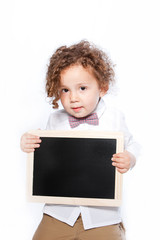 Young Boy Holding Blank Slate Chalkboard