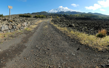 Dirt Road To The Snowy Volcano Etna, Sicily