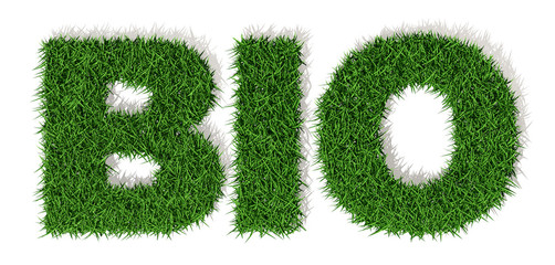 BIO lettera erba verde, isolata su fondo bianco