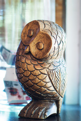 Antique Decorative Duck Decoy owl bird .
