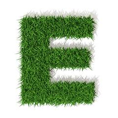 E lettera erba verde, isolata su fondo bianco