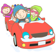 Family go to ski by the car illustration