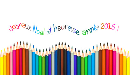 Greeting card with french text colorful pencils
