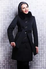 пальто, зима, брюнетка