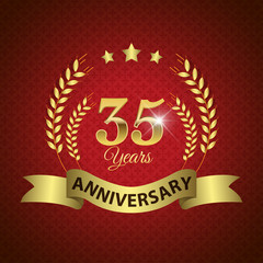 Celebrating 35 Years Anniversary, Golden Laurel Wreath & Ribbon