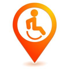 handicapé sur symbole localisation orange