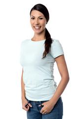 Pretty caucasian woman posing