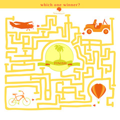 Rebus vector. Funny labyrinth with bike car plane balloon.