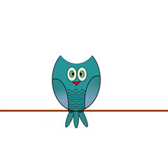 Cute owl on the white background