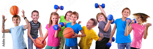 Team of sportive kids friends with dumbbells and ball - 72912243