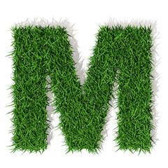M lettera erba verde, isolata su fondo bianco