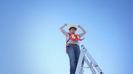 Woman Worker Climb Ladder Raise Hands