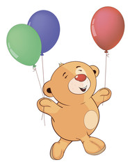 A stuffed toy bear cub with toy balloons cartoon
