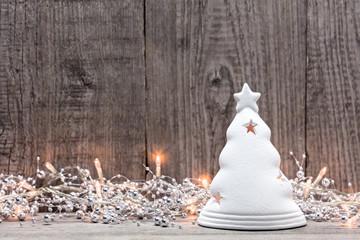 Christmas lights with fir figurine