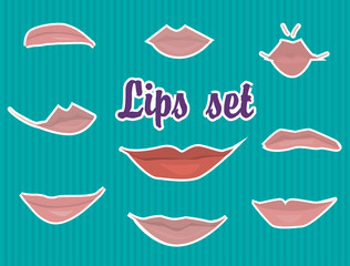 Lips set cartoon and fun for character and for animation
